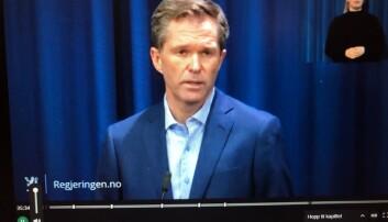 John-Arne RØttingen under regjeringens pressekonferansen fredag. Skjermdump.