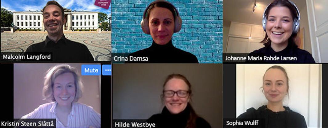 Disse seks har skrevet rapporten om den digitale undervisningen første uka på det juridiske fakultet ved Universitetet i Oslo.