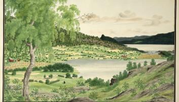 «Samland i Hardanger». Akvarell av Catherine Hermine Kølle, u.år. Akvarellen tilhører Universitetsmuseet i Bergen.