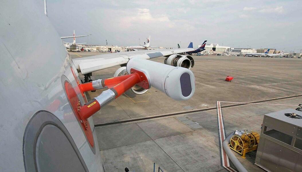 En versjon av askedetektorsystemet til Nicarnica Aciation, ferdig montert på et Airbus A340-300