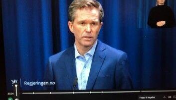 Her er John-Arne Røttingen på regjeringas pressekonferanse 20.mars i år og snakkar om den store utprøvinga av medisin mot koronavirus.