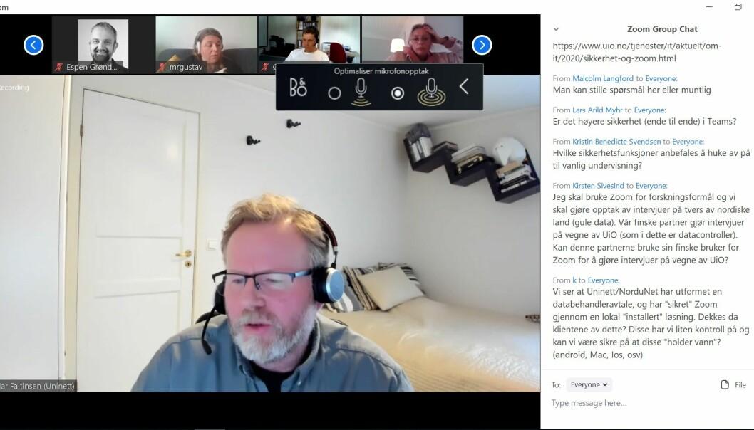 Avdelingsdirektør i Uninett, Vidar Faltinsen tok i mot spørsmål fra Zoom-brukere under et digitalt lunsjmøte.