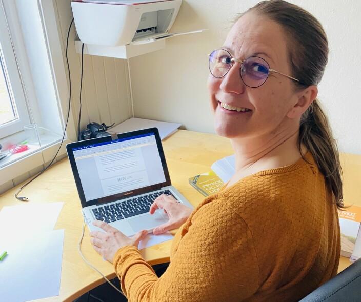 Student Ingrid Kilde på hjemmelesesalen.