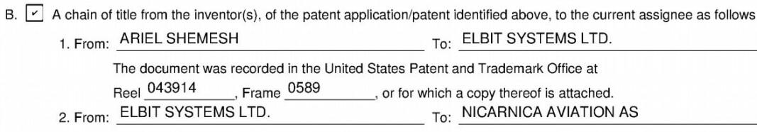 Patentdokument fra 2018 som viser at Elbit Systems overfører patentet til Nicarnica.