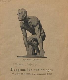 Program fra 1930. UBBHF Mag R box 69