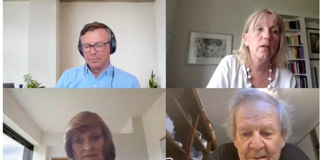 Digitalt styremøte på plattforma Teams. Oppe rektor Dag Rune Olsen og prorektor Margareth Hagen, nede viserektor Oddrun Samdal og professor Petter Bjørstad.