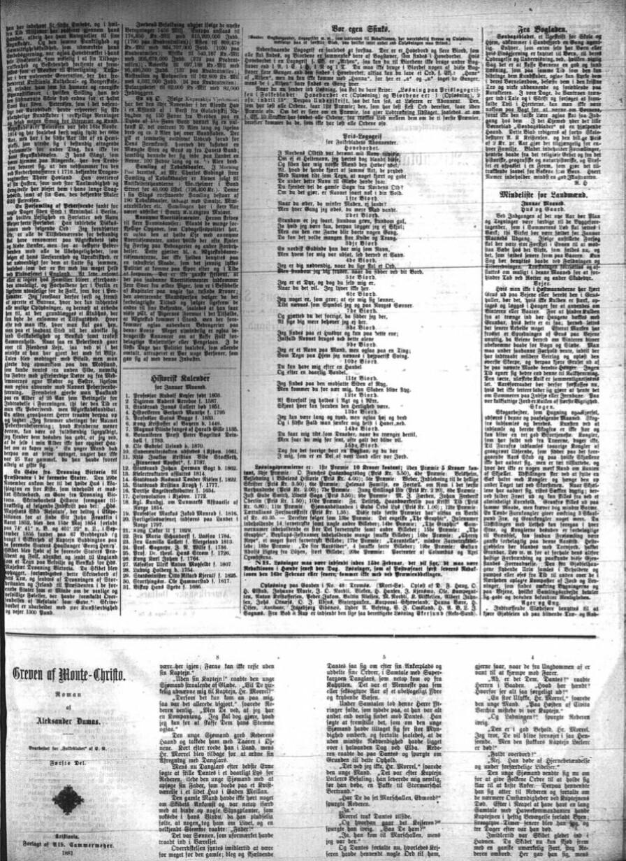 """Begynnelsen av """"Greven av Monte Christo"""" som føljetong i Folkebladet fra 1881. Bildet er kopi fra NBs mikrofilmsamlingen."""