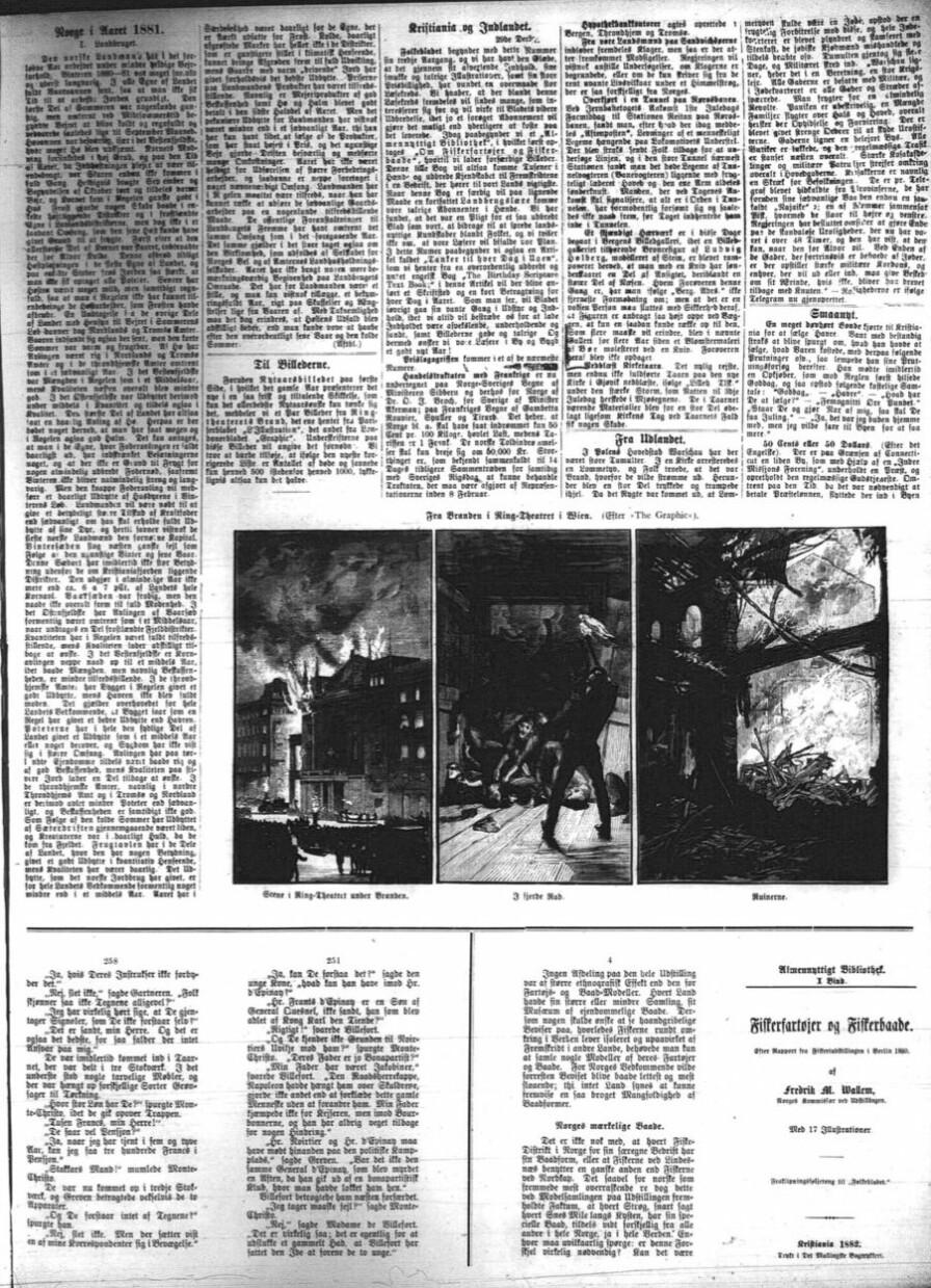Siste installasjon av Greven av Monte Cristo i Folkebladet 1. januar 1882, før det abrupt går over til å handle om fiskefartøyer og fiskebåter... Fra NBs mikrofilmsamlingen.
