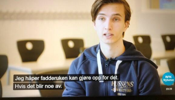 Russepresident i Oslo og Viken, Johann Rief, har søkt NTNU til høsten, og ser fram til at det blir fadderuke ved studiestart. Skjermdump NRK