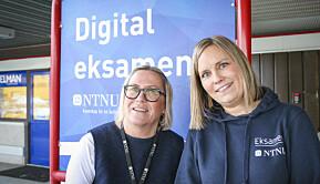 Annikken Løe og Siri Brunvoll (t.h.) er blant de som har forberedt miljøene ved NTNU på digital eksamen.