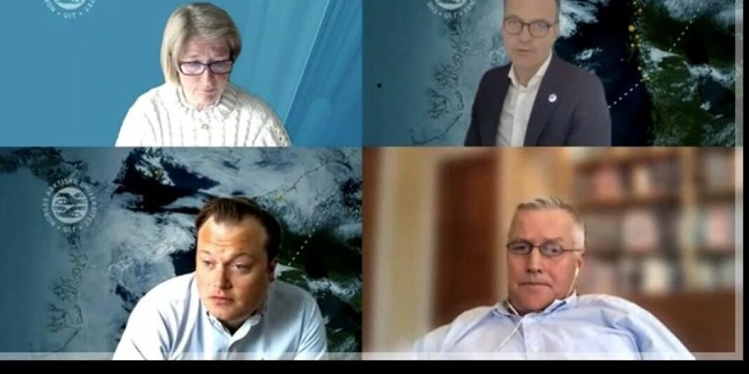 Anne Husebekk (øverst t.v.), Jørgen Fossland, Jonas Stein og Anders Malmberg under styremøtet på UiT 13. mai.