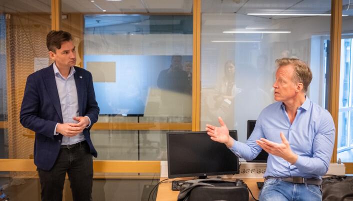 Henrik Asheim og Curt Rice ved åpning av en teknolab ved OsloMet et par år tilbake i tid.