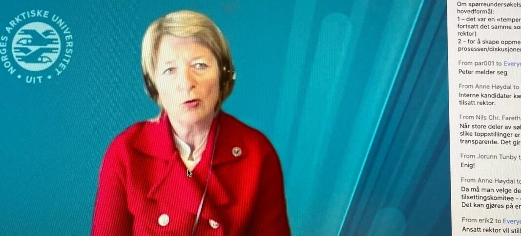 Rektor Anne Husebekk på UiT under debattmøtet på Zoom.