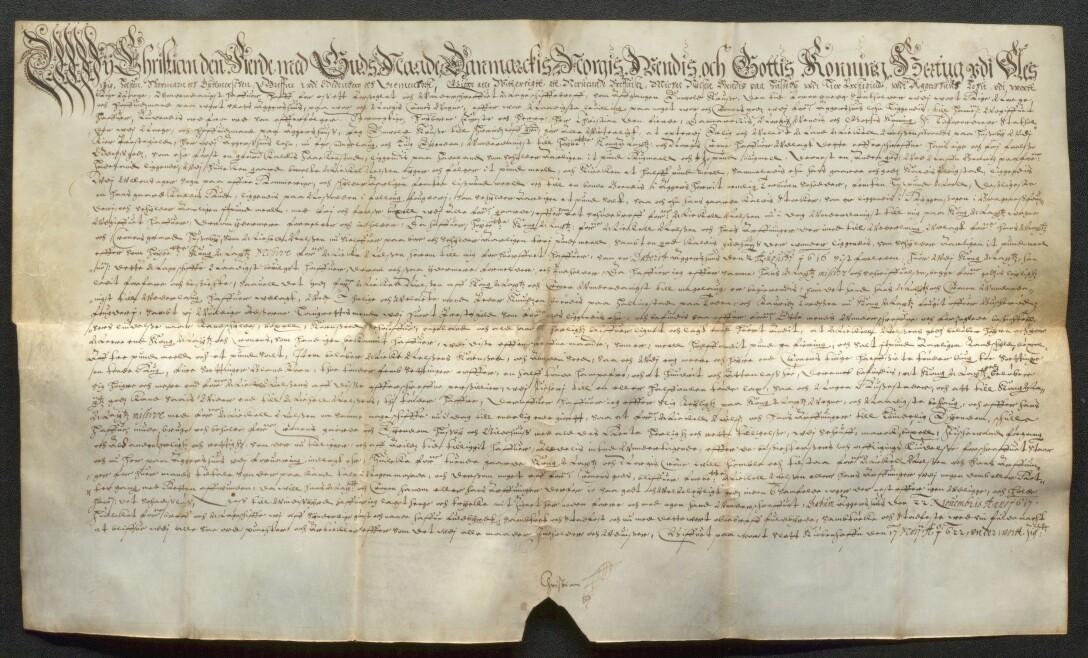 Kongelig aktstykke signert av Christian IV den 17. mai 1622.