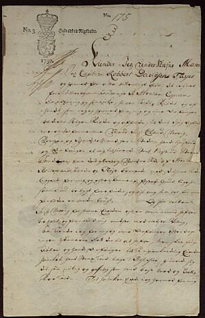 Første side av skjøte fra Maren, enke etter Robbert Davidsen Faye (ubb-ms-1766-d).
