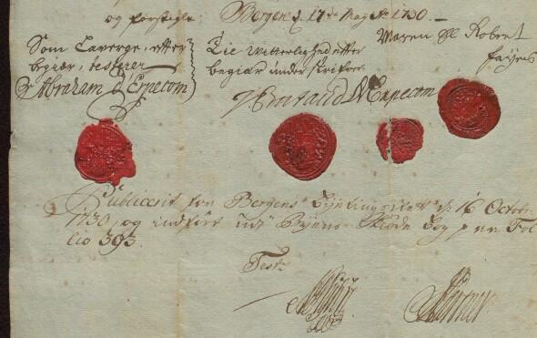 Andre side av skjøte fra Maren, enke etter Robbert Davidsen Faye (ubb-ms-1766-d).