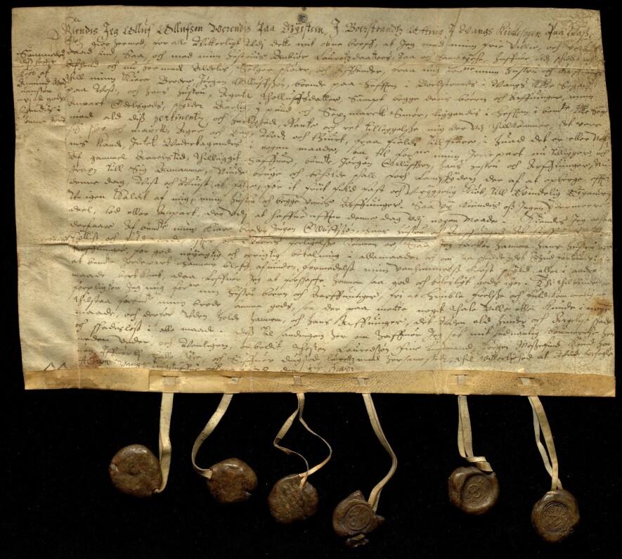 Kunngjørelse av salg mellom to brødre fra Vossevangen, datert 17. mai 1638.