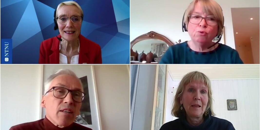 Rektor Anne Borg (oppe til venstre), prorektor for utdanning, Berit Kjeldstad, prorektor for forskning, Bjarne Foss og organisasjonsdirektør Ida Munkeby var blant de som svarte på spørsmål fredag morgen.