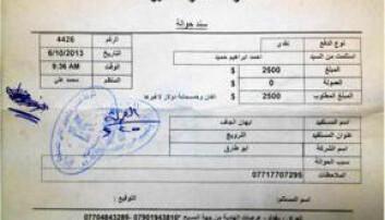 Kvitteringen for Ahmed Dulaimis overføring til Aihan Jaf.