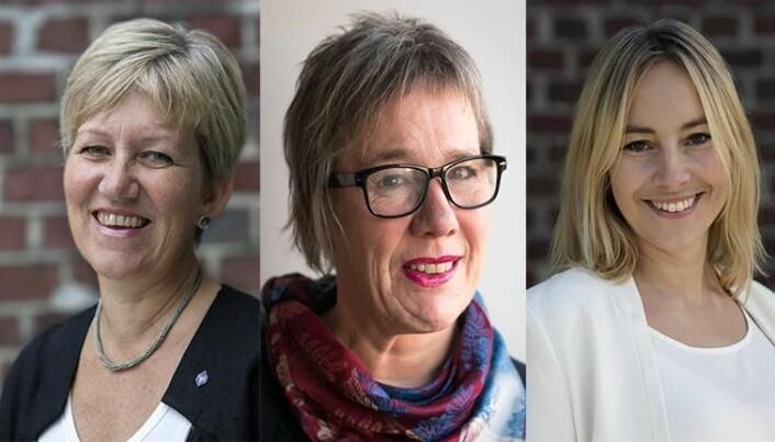 Prorektorar f.v. Bjørg Kristin Selvik, Liv Reidun Grimstvedt og Gro Anita Fonnes Flaten. Berre ein av dei seier ho så langt vurdere å søke rektorjobben