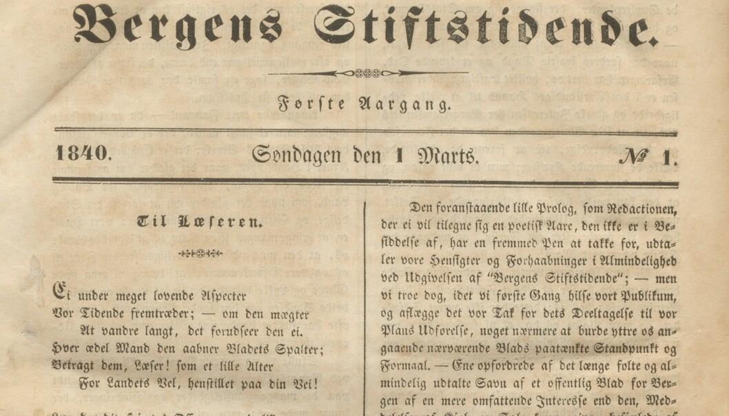 Første nummer av Bergens Stiftstidende, 1. mars 1840