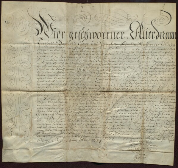 Svennebrevet til Johan Harman Brÿning fra 2. januar 1734. Det er et flott dokument skrevet på ganske høytidelig tysk, siden det skulle introdusere svennen i arbeidsmiljøet han reiste til i Tyskland.