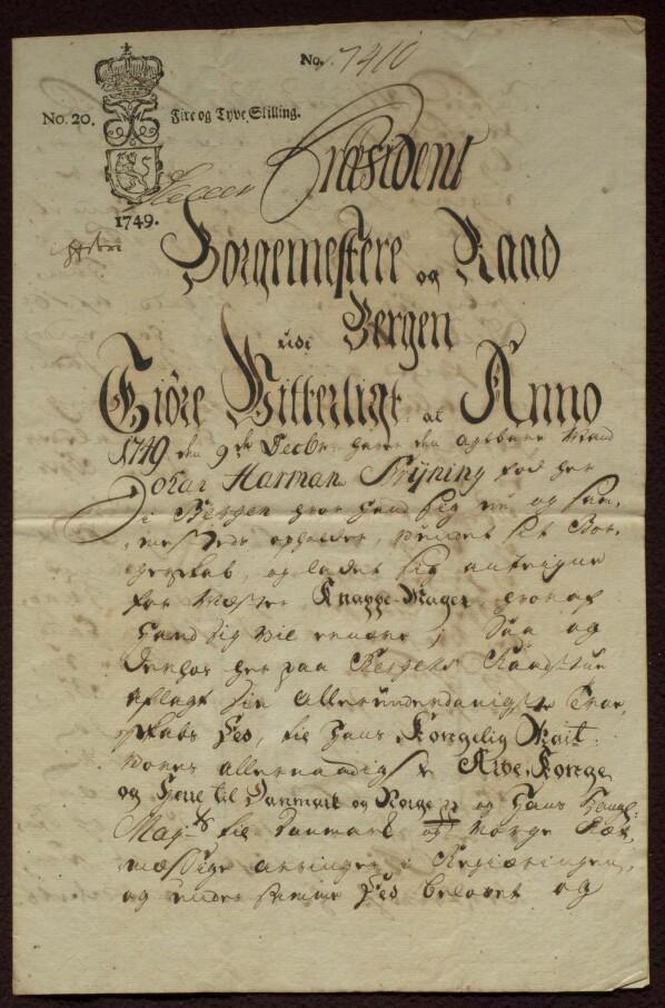 Mesterbrevet til Johann Harmann Brÿning fra 9. desember 1749.