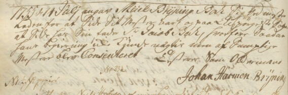 Johann Harmann Brÿning signerer Forhandlingsprotokollen fra 14. juli 1755 som oldermann for Knappmakerlauget i Bergen.