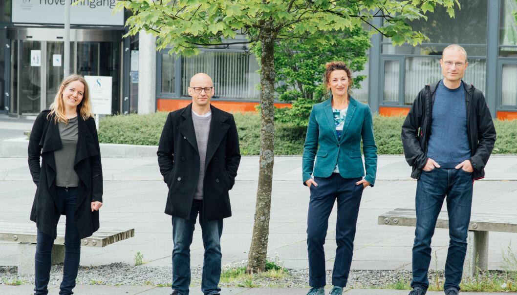 Førsteamanuensis Kristin Hjorthaug Urstad (f.v.), professor Benn Folkvord, førsteamanuensis Milica Savic og professor Jan Terje Kvaløy er de første meritterte underviserne ved Universitetet i Stavanger.