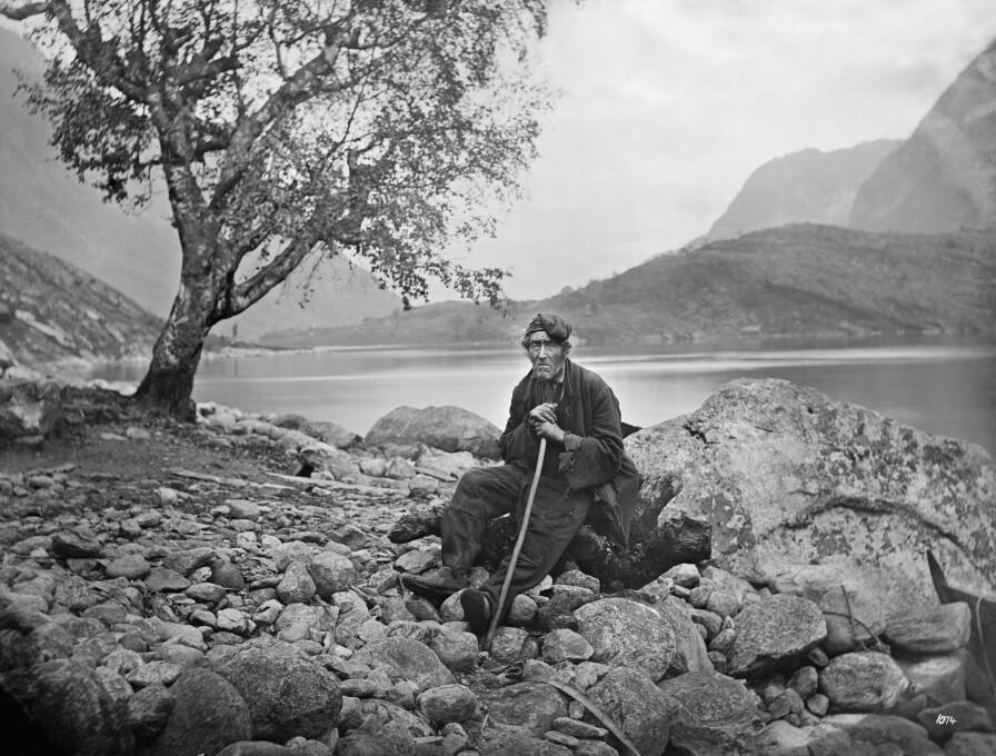 «Parti fra Hardanger», fotografert nedanfor garden Tokheim, ved Sørfjorden i Hardanger i første halvdel av 1870-talet. Ubb-kk-1318-1074.