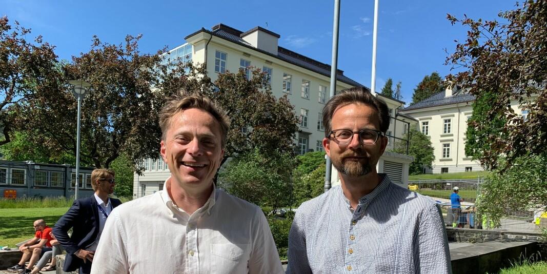 Klimaforskerne Erik Kolstad og Øyvind Paasche i forskningsinstituttet Norce kan smile etter at prosjektet deres Climate Futures ble tildelt en SFI fra Norges Forskningsråd .