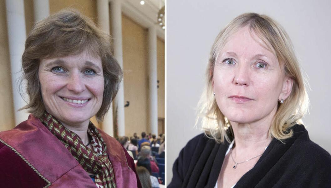 Professor og viserrektor for utdanning, Oddrun Samdal (t.v.) og professor og prorektor for forsking, Margareth Hagen, kan komme til å møtast i valkamp om rektorstillinga ved Universitetet i Bergen som blir ledig frå august 2021.