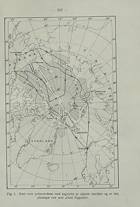 «Kart over polarstrøkene med angivelse av ukjente områder og av den planlagte rute med «Graf Zeppelin». .