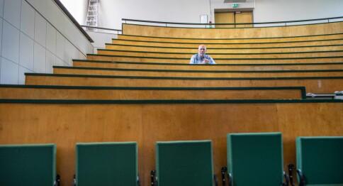 Dette auditoriet har plass til 200. I høst får bare 75 være der samtidig.