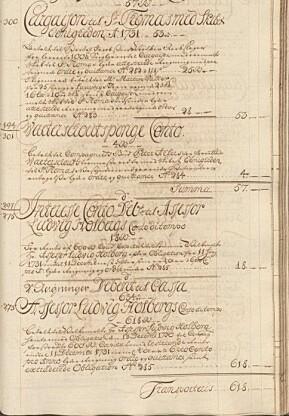 Etter ett år med obligasjonen i «Vestindiske» går Holberg ut 12. desember 1731. Han hadde etter et halvt år tjent 18 riksdaler 11. juni. Han får så «med resterende Rente inntil 11. desember 1731» ubetalt nye 18, totalt 36 riksdaler». Ill.: Vestindisk-Guineisk Kompagni, Negotiejournal, G 1727–1731, oppslag 350 av 378. Kilde: Ao.salldata.dk.