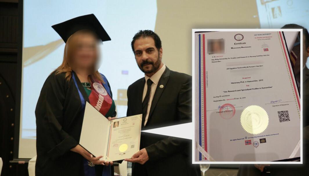 A woman receives a diploma from Tarek Ibrahim's Bay Ridge University last year.