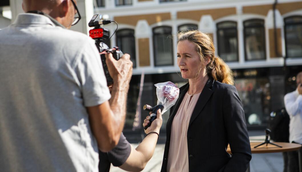 Politiadvokat Line Nyvoll Nygaard i PST møtte mediene etter fengslingsmøtet 17.august.