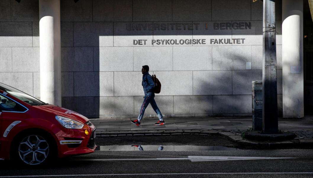 Ved opptaket på psykologi ved UiB og UiO høsten 2019 fikk 17 menn plass som følge av kjønnspoeng som ellers ikke vill kommet inn. Her fra Psykologisk fakultet ved Universitetet i Bergen.