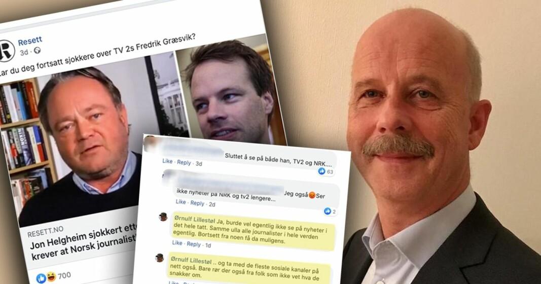TV2-journalist Fredrik Græsvik blir skulda for å drive med løgn av politikar Jon Helgheim (Frp). Direktør ved Det psykologiske fakultet kasta seg på diskusjonen på Resett - men hevdar no at det heile var eit forsøk på å vere ironisk. No beklagar han at han ikkje er blitt forstått.