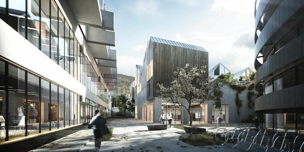 Slik kan det nye studiebygget til NLA Høgskolen komme til å blie seende ut når det skal være ferdig i 2023.