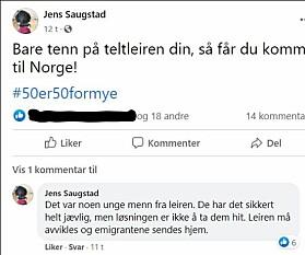 Skjermdump fra FB-status.