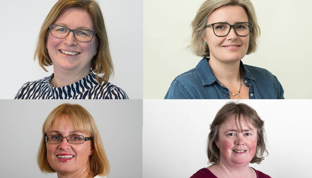 Disse fire er nye dekaner ved Nord universitet. Fra øverst i venstre hjørne: Elisabeth Ljunggren, Gøril Ursin, Gry Agnete Alsos og Mette Sørensen.