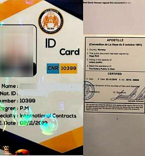 """Et ID-kort stemplet hos Fylkesmannen i Oslo og Akershus i 2018. Stempelet avslører at """"David Hansen"""" har fått dokumentet stemplet."""