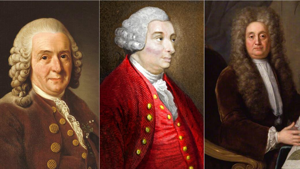 Dette er tre av mennene som er blitt trekt frem i debatten om rasisme, statuer og minneskermer. Fra venstre: Carl von Linné, David Hume og sir Hans Sloane.