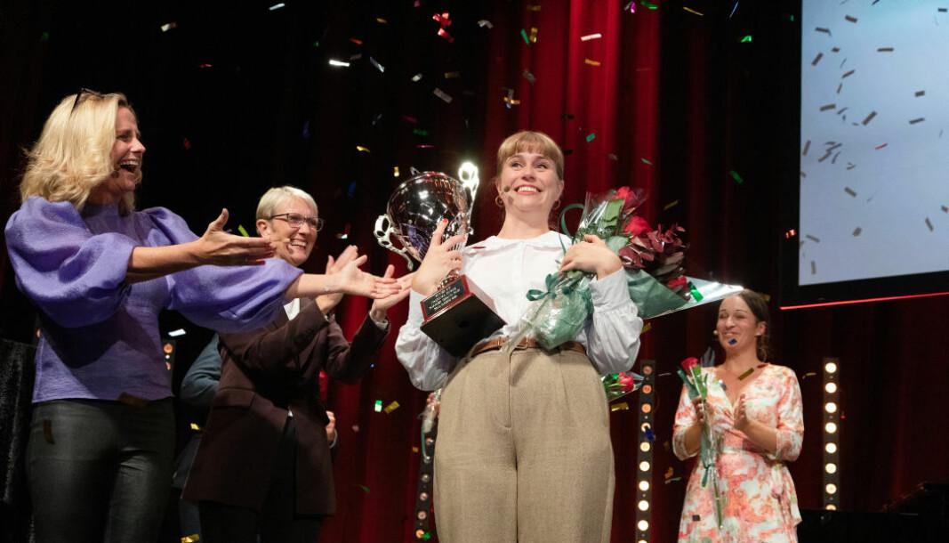 Forsker Grand Prix-finalen i Trondheim 2020. Tora Söderström Gaden (NORCE og Griegakademiets senter for musikkterapiforskning) vant.