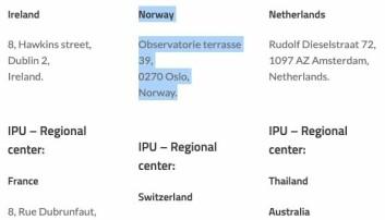 """Skjermdump fra International Peace University viser en norsk adresse som """"regionalt senter""""."""