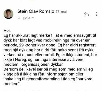 Denne e-posten sendte Stein Olav Romslo til Norsk Studentforening. Det endte med at han fikk pengene tilbake.