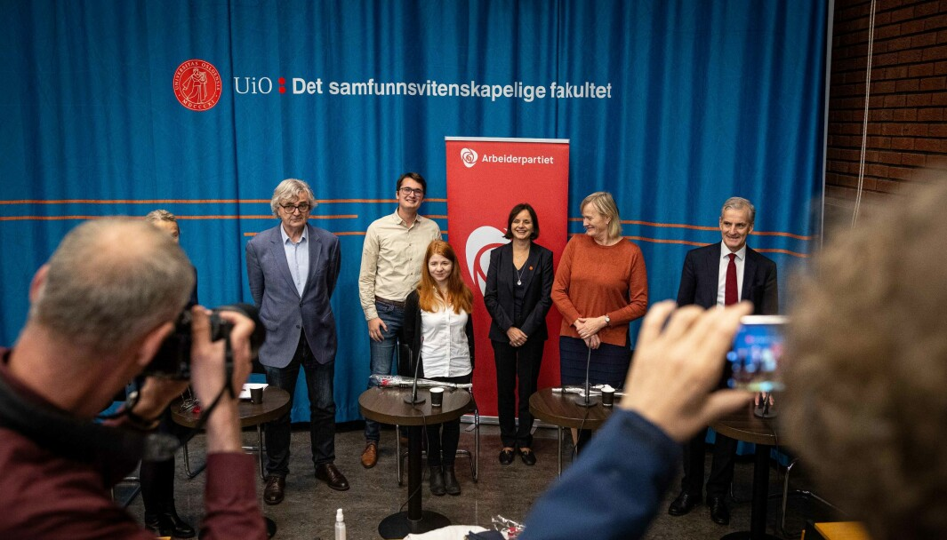 Panelet under presentasjonen av nytt Ap-program: Petter Aaslestad, William Høie, Linnea Alexandra Barberini, Åse Gornitzka, Hanne Davidsen og Jonas Gahr Støre .