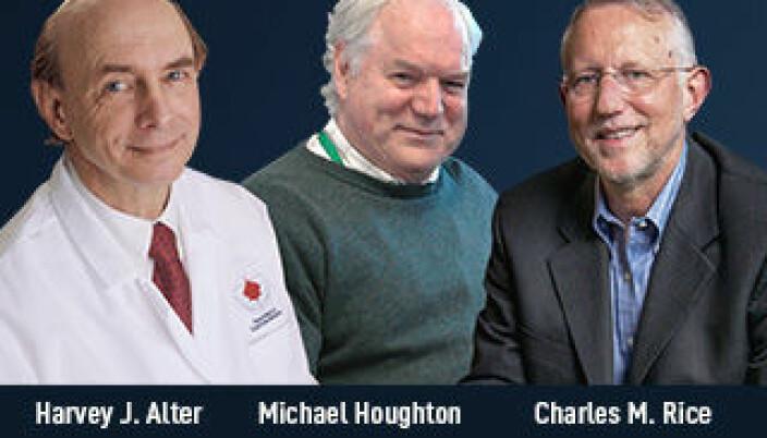 De tre prisvinnerne: Harvey J Alter (t.v.), Michael Houghton og Charles M. Rice.
