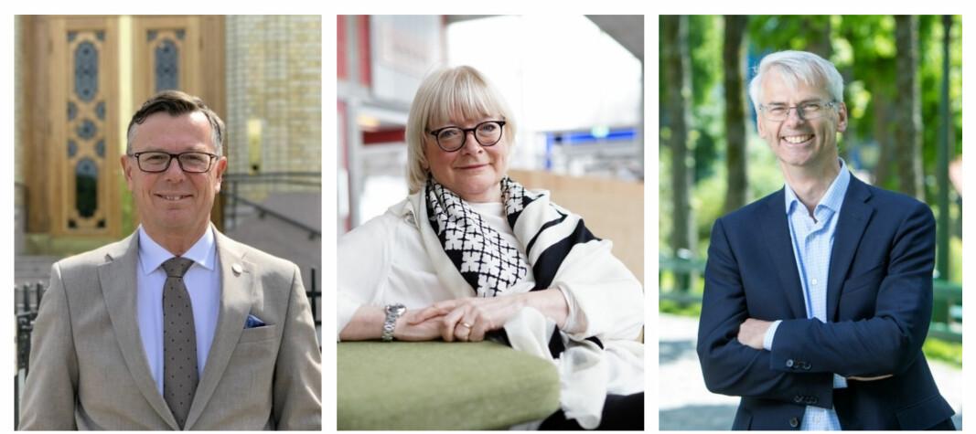 Rektorene Dag Rune Olsen ved UiB, Berit Rokne ved HVL og Øystein Thøgersen ved NHH innleder samarbeid om studententreprenørskap.